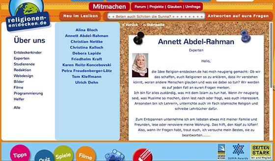 Bildausschnitt der Website religionen-entdecken.de